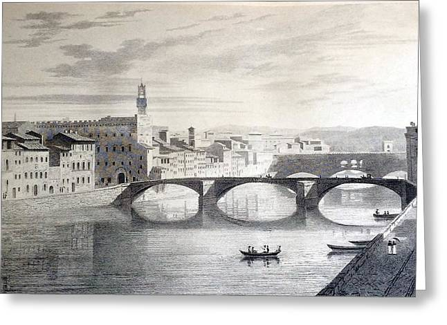 Famous Bridge Drawings Greeting Cards - Florence from Schneiders Hotel Greeting Card by Elizabeth F Batty