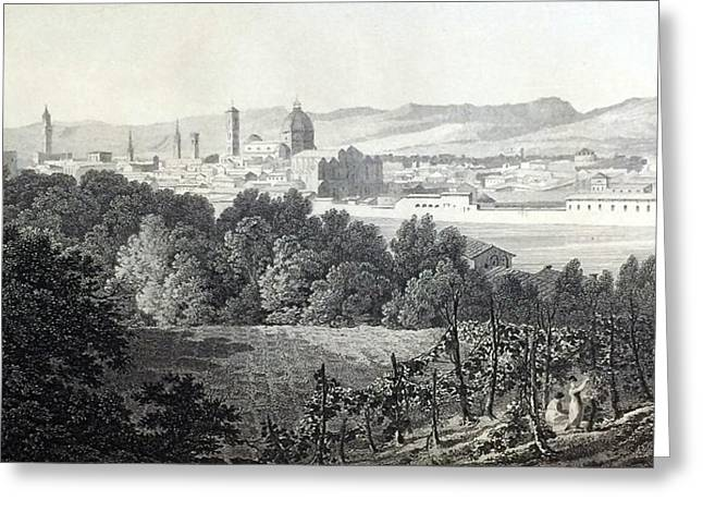 Famous Bridge Drawings Greeting Cards - Florence from the Road to Arezzo Greeting Card by Elizabeth F Batty