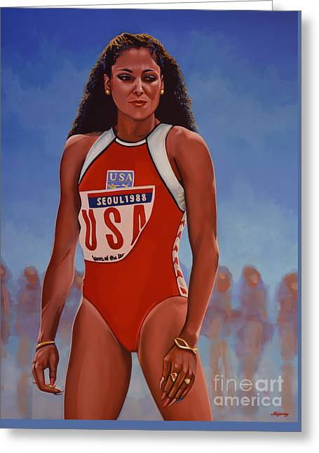 Florence Griffith - Joyner Greeting Card by Paul Meijering