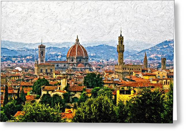 Steve Harrington Greeting Cards - Florence impasto Greeting Card by Steve Harrington
