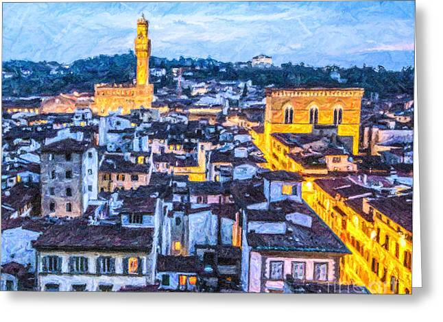 Tuscany Greeting Cards - Florence in the Blue Hour Greeting Card by Liz Leyden