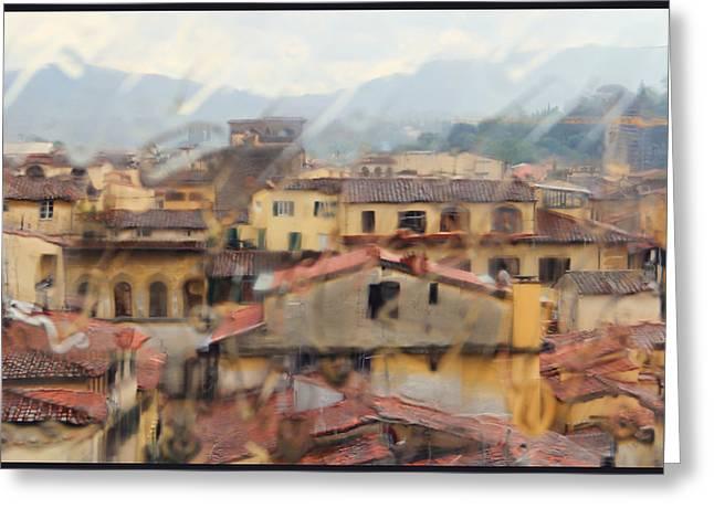 Florence In The Rain Greeting Card by Oscar Alvarez Jr