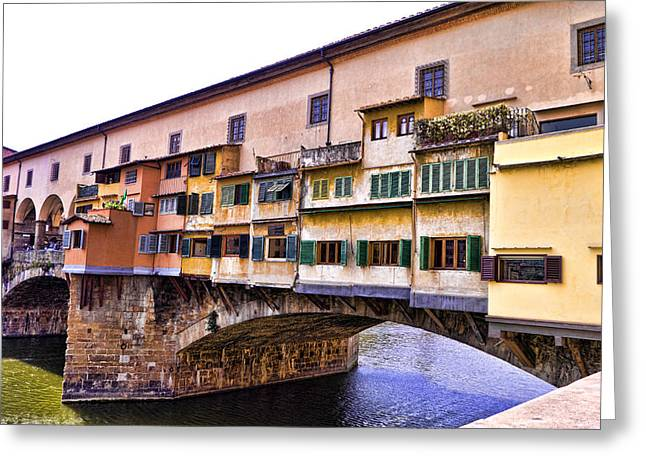 Florence Italy Ponte Vecchio Greeting Card by Jon Berghoff