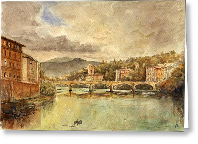 Italian Landscapes Greeting Cards - Florence Greeting Card by Juan  Bosco