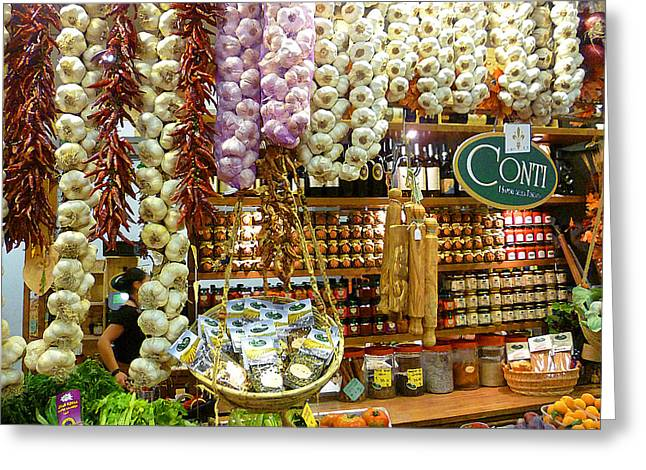 Harvest Art Greeting Cards - Florence Market Greeting Card by Irina Sztukowski