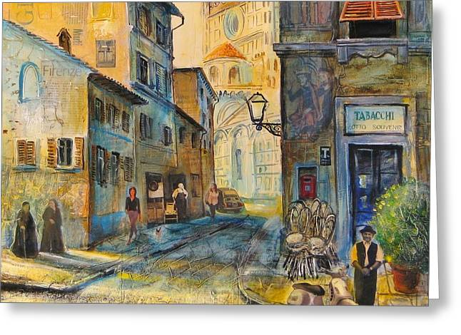 Wine Scene Mixed Media Greeting Cards - Florence Greeting Card by Mikhail Zarovny