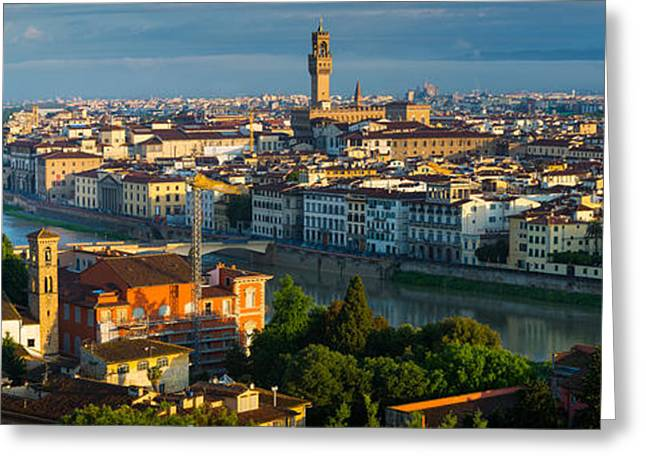 Italian Sunset Greeting Cards - Florence Panorama Greeting Card by Inge Johnsson