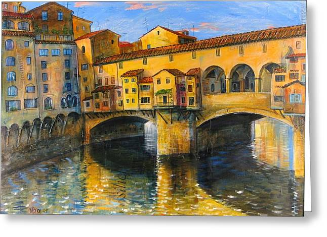 Wine Scene Mixed Media Greeting Cards - Florence-Ponte Vecchio Greeting Card by Mikhail Zarovny