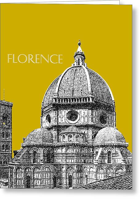 Florence Skyline Cathedral Of Santa Maria Del Fiore 1 - Gold   Greeting Card by DB Artist