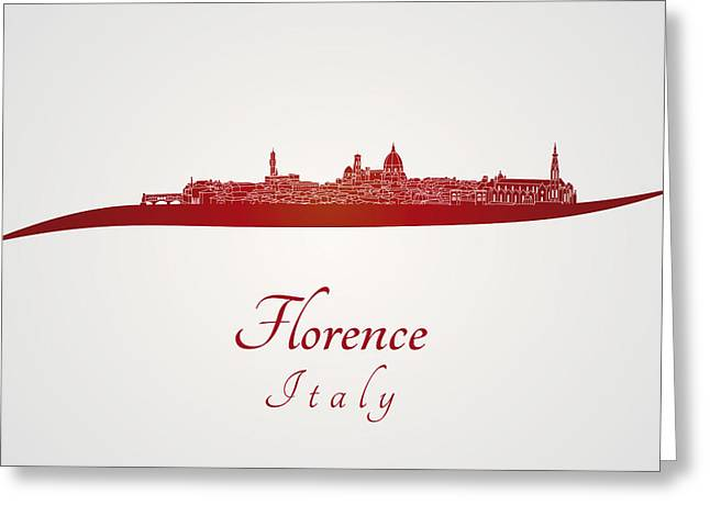 Florence Digital Art Greeting Cards - Florence skyline in red Greeting Card by Pablo Romero