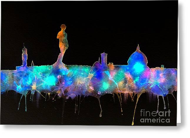 Florence Skyline - Nighttime 1 Greeting Card by Bill Holkham