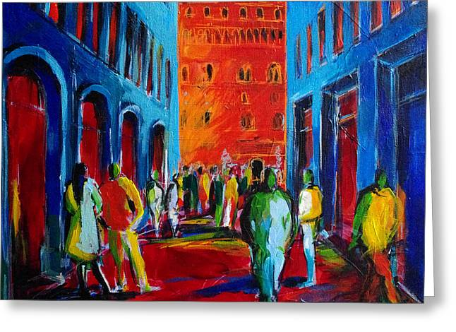 Fauvism Greeting Cards - Florence Sunset Greeting Card by Mona Edulesco