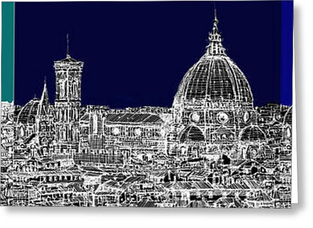Pen And Ink Framed Prints Greeting Cards - Florence Triptych in blue Greeting Card by Lee-Ann Adendorff