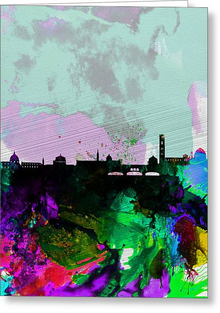 Florence Greeting Cards - Florence Watercolor Skyline Greeting Card by Naxart Studio