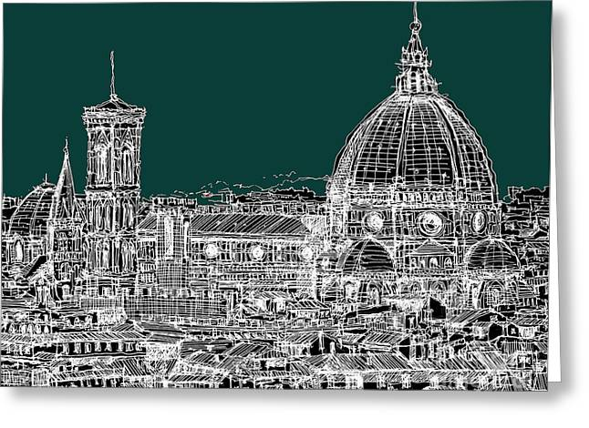 Pen And Ink Framed Prints Greeting Cards - Florence white on turquoise Greeting Card by Lee-Ann Adendorff
