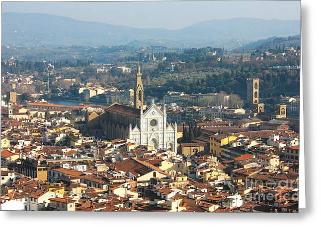 Firenza Greeting Cards - Florence with The Basilica di Santa Croce Greeting Card by Kiril Stanchev