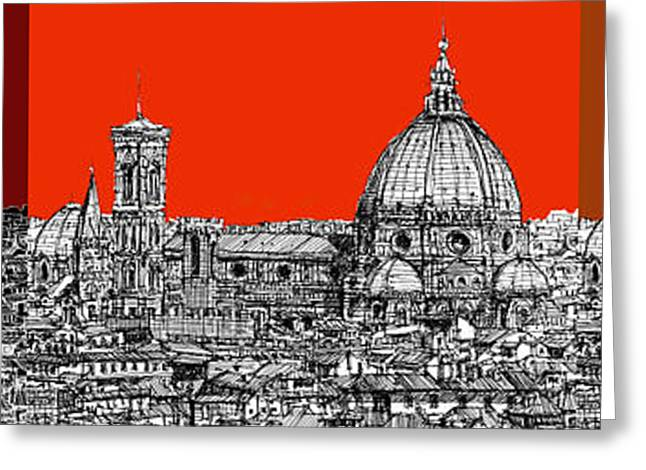 Pen And Ink Framed Prints Greeting Cards - Florences Duomo in oranges Greeting Card by Lee-Ann Adendorff