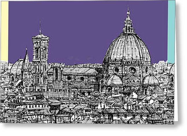 Pen And Ink Framed Prints Greeting Cards - Florences Duomo in pastels Greeting Card by Lee-Ann Adendorff