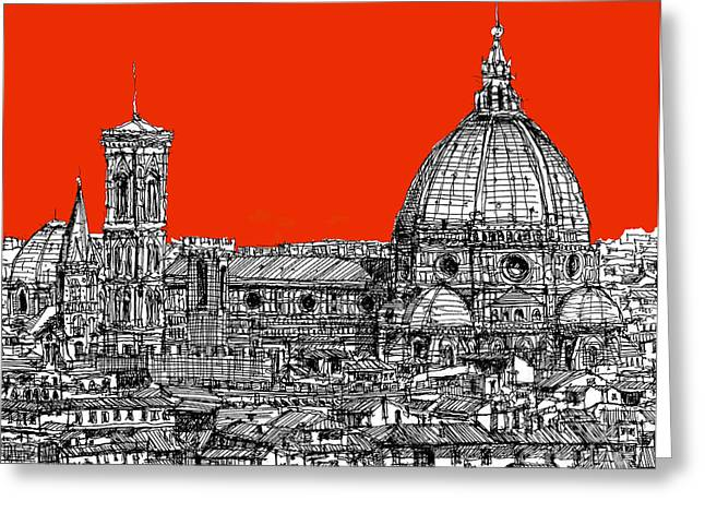 Pen And Ink Framed Prints Greeting Cards - Florences Duomo on orange Greeting Card by Lee-Ann Adendorff