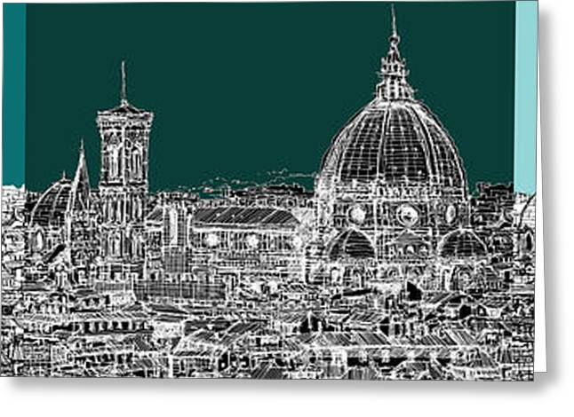 Pen And Ink Framed Prints Greeting Cards - Florences Duomo triptych Greeting Card by Lee-Ann Adendorff