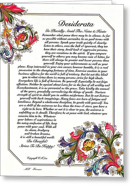 Motivational Poster Drawings Greeting Cards - Florentine Desiderata Poster Greeting Card by Desiderata Gallery