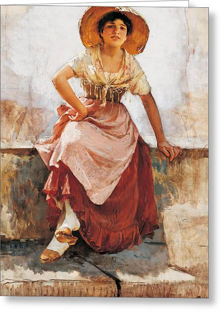 Apron Greeting Cards - Florentine Flower Girl Greeting Card by Frank Duveneck