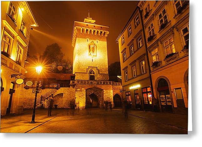 Polish Culture Greeting Cards - Florentine gate at night Greeting Card by Roksana Bashyrova