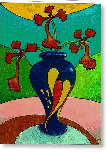 Puerto Rico Pastels Greeting Cards - Flores de Flamboyan en una Jarra Multicolor  Greeting Card by Estefan Gargost