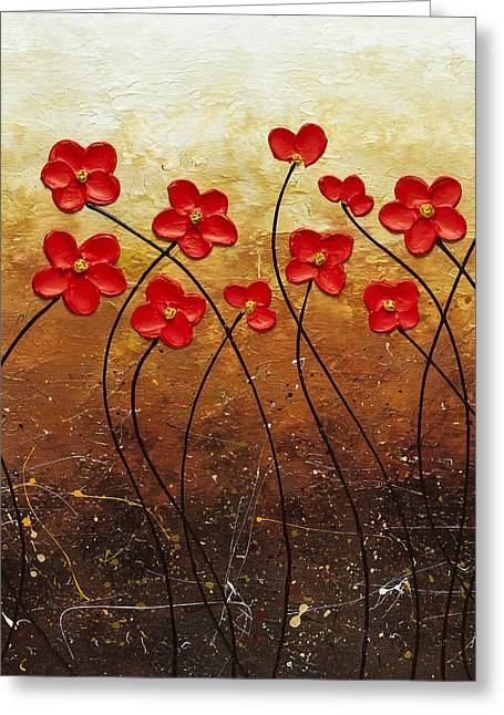 Poppies Greeting Cards - Flores de Mi Jardin 2 Greeting Card by Carmen Guedez