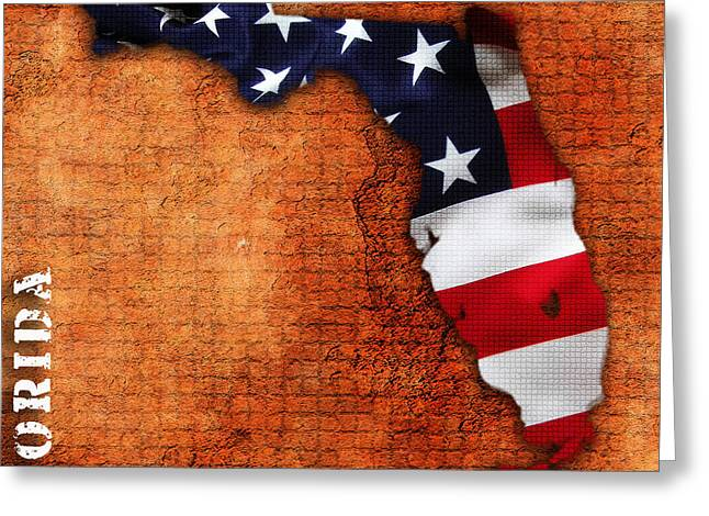 Map Greeting Cards - Florida American Flag State Map Greeting Card by Marvin Blaine