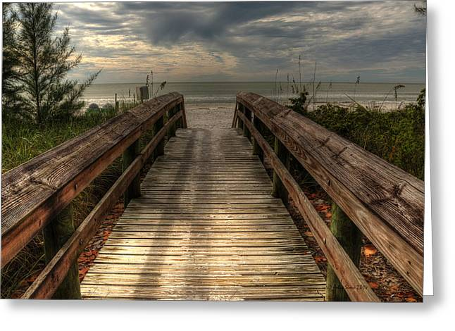 Magic Pyrography Greeting Cards - Florida Beach Entrance with a Beautiful Sky Greeting Card by Julis Simo