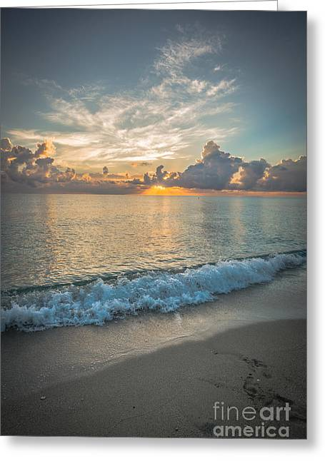 Lapping Greeting Cards - Florida Beach Sunrise Greeting Card by Ian Monk