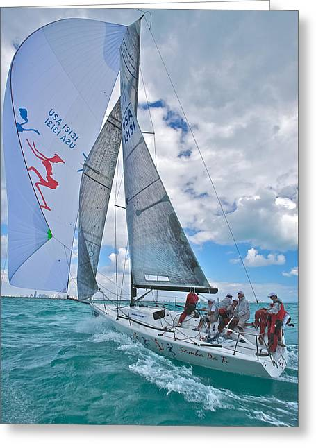 Blue Sailboats Greeting Cards - Florida Chute Greeting Card by Steven Lapkin