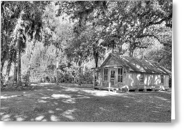 Bamboo House Greeting Cards - Florida Cracker BW Greeting Card by Sean Allen