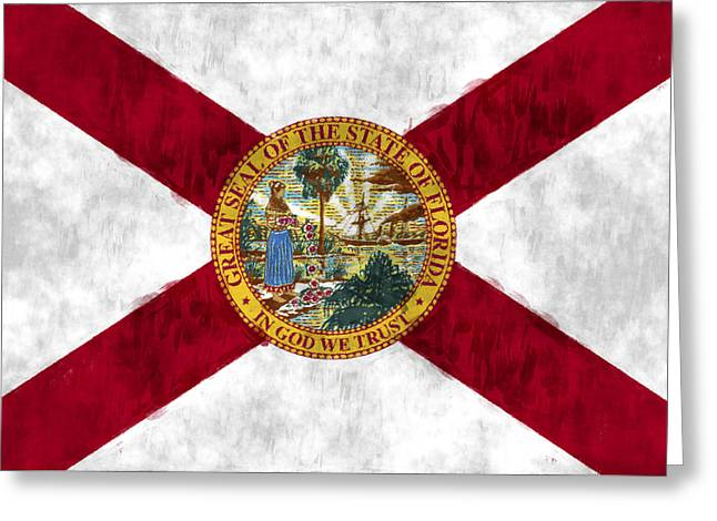 Flag Of Usa Greeting Cards - Florida Flag Greeting Card by World Art Prints And Designs