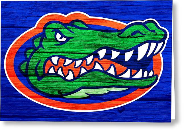 Gainesville Greeting Cards - Florida Gators Barn Door Greeting Card by Dan Sproul