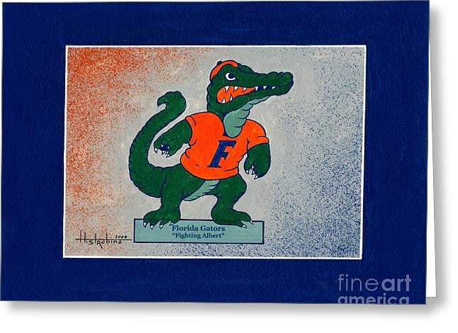 Florida Gators Paintings Greeting Cards - Florida Gators Fighting Albert Greeting Card by Herb Strobino