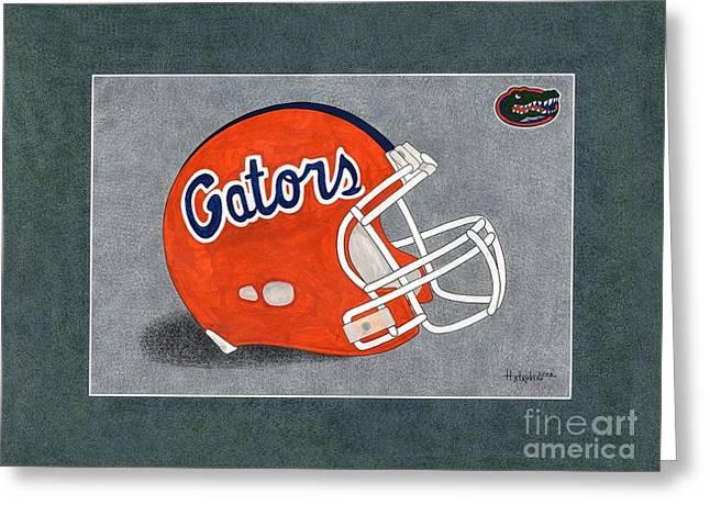 Sec Paintings Greeting Cards - Florida Gators Helmet Greeting Card by Herb Strobino