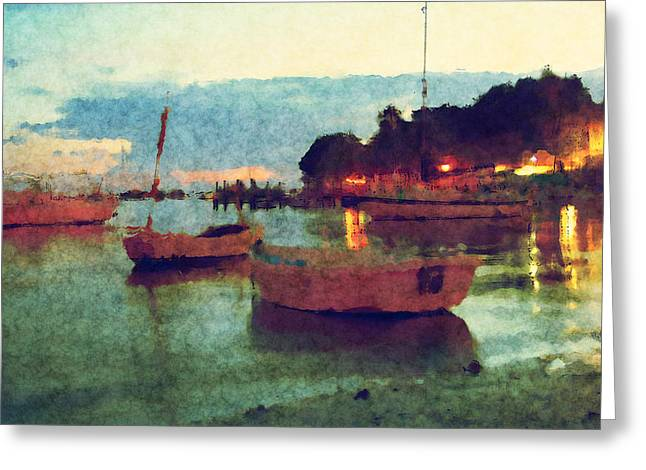 Row Boat Greeting Cards - Florida Harbor Greeting Card by Ryan Burton
