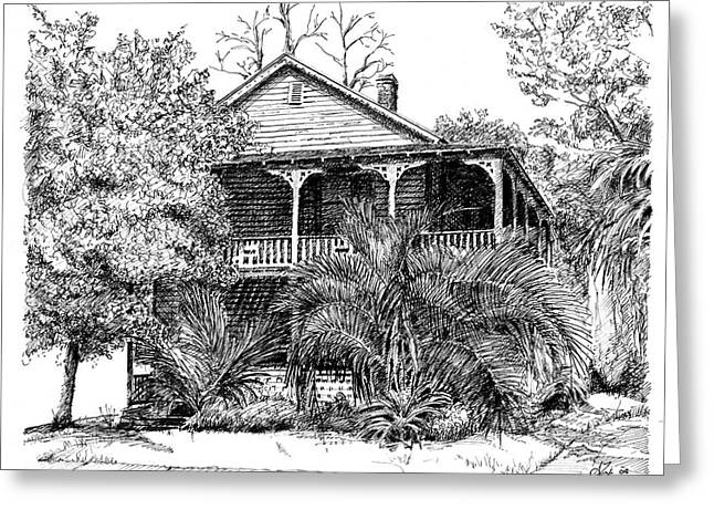 Dilapidated Drawings Greeting Cards - Florida House Greeting Card by Arthur Fix
