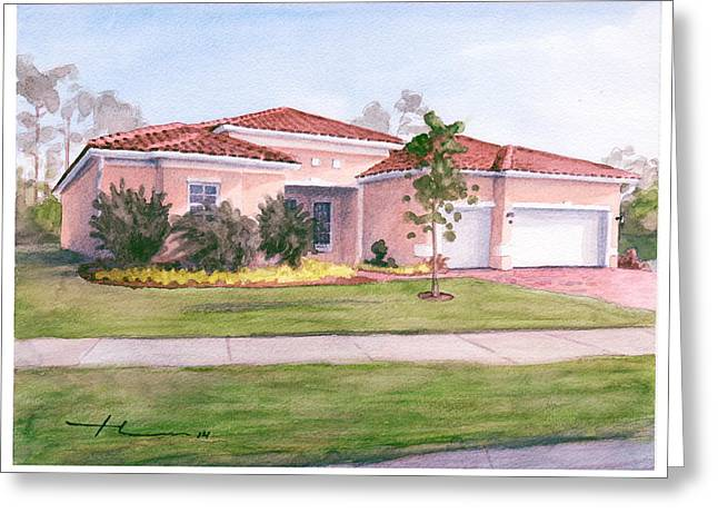 Florida House Watercolor Portrait Greeting Card by Mike Theuer