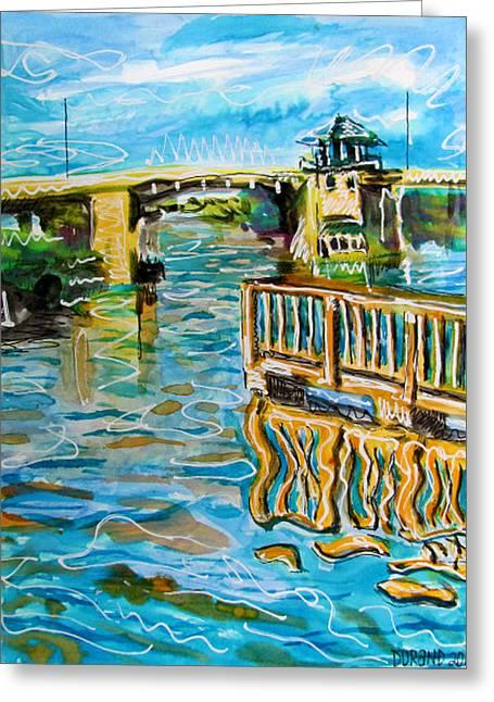 Florida Bridge Paintings Greeting Cards - Florida Intercoastal waterway Greeting Card by Douglas Durand