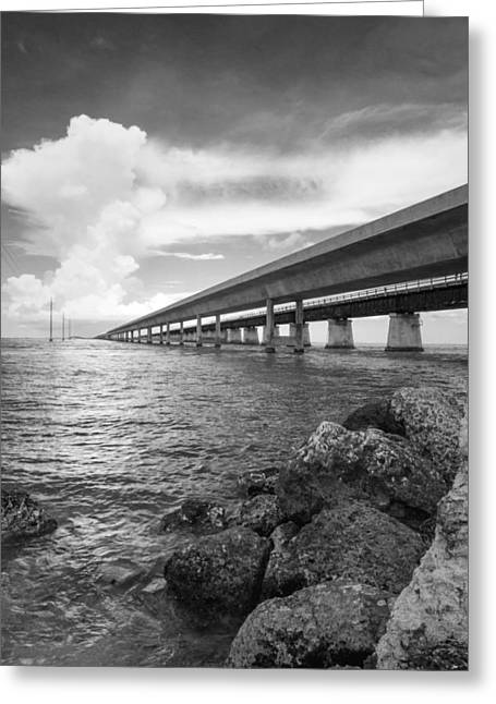 Old Roadway Greeting Cards - Florida Keys Seven Mile Bridge South BW Vertical Greeting Card by Photographic Arts And Design Studio