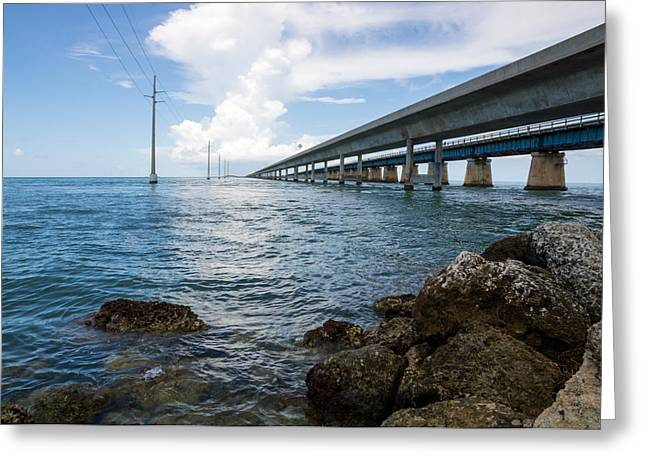 Old Roadway Greeting Cards - Florida Keys Seven Mile Bridge South Color Greeting Card by Photographic Arts And Design Studio