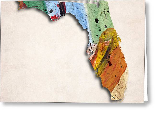 Florida Map Art - Painted Map Of Florida Greeting Card by World Art Prints And Designs