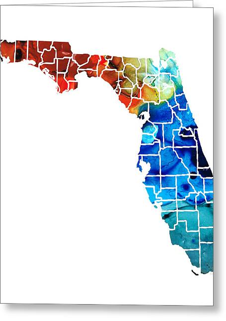 Bradenton Greeting Cards - Florida - Map by Counties Sharon Cummings Art Greeting Card by Sharon Cummings