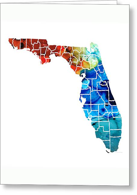 Miami Mixed Media Greeting Cards - Florida - Map by Counties Sharon Cummings Art Greeting Card by Sharon Cummings