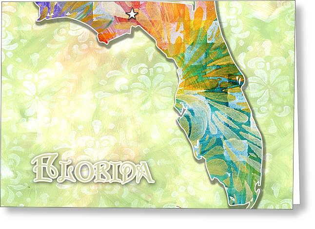 Licensor Digital Greeting Cards - Florida Map Fun Tropical Original Painting Design by Megan Duncanson Greeting Card by Megan Duncanson
