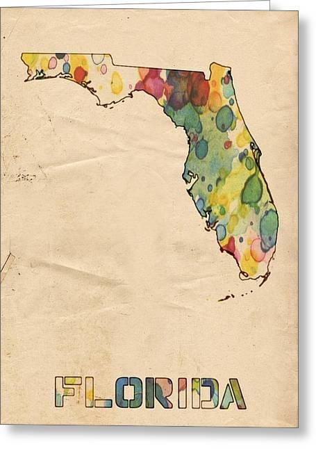 Jacksonville Digital Greeting Cards - Florida Map Vintage Watercolor Greeting Card by Florian Rodarte