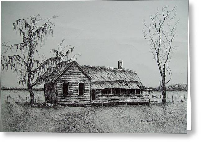 Abandoned Houses Drawings Greeting Cards - Florida Old House Greeting Card by Tom Rechsteiner
